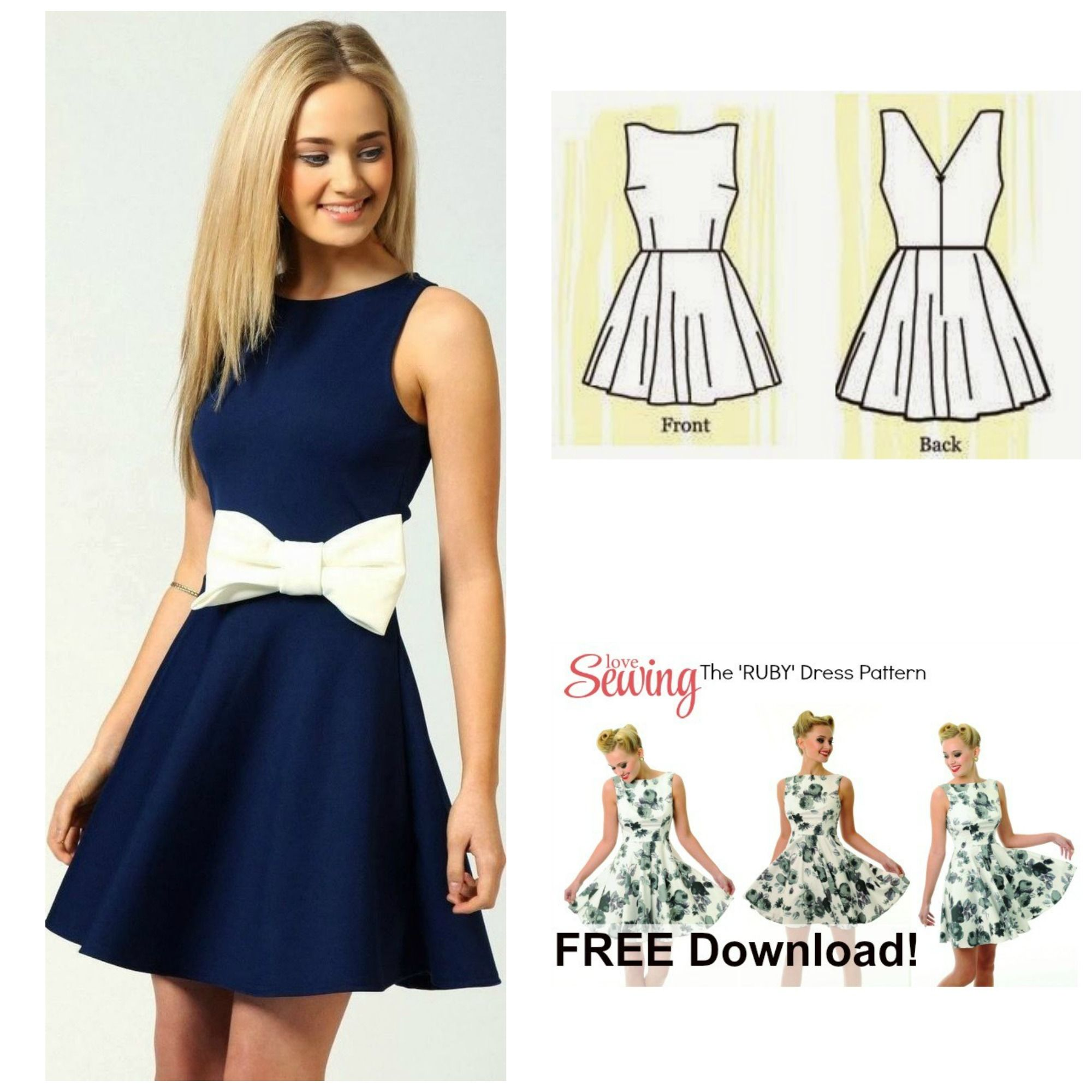 Free Dress Pattern: The Ruby Dress | Sy | Pinterest | Simple ...