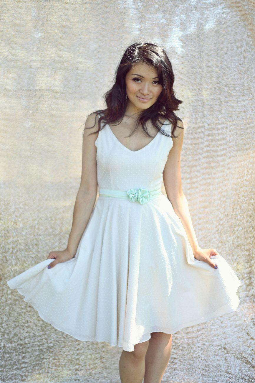 Short Cotton Wedding Dress Bridesmaid Dress Swiss Dot V Neck Low