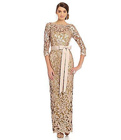 Tadashi Shoji Sequined Lace Gown #Dillards