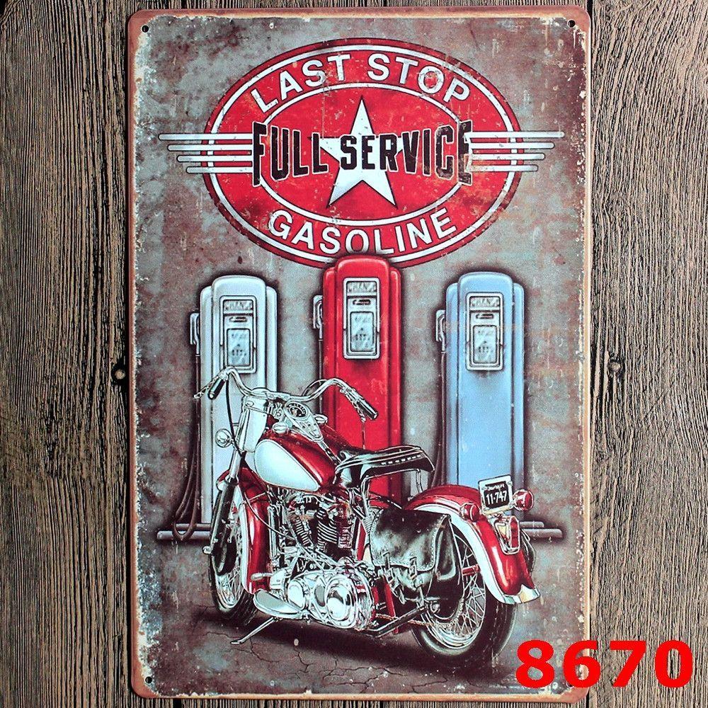 Retro Motorcycle Metal Painting Wall Bar Home Art Decor Cuadros Mix ...