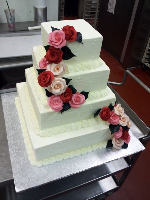 square wedding cake with red roses roses square wedding cake simple piping amp flowers cakes 20439