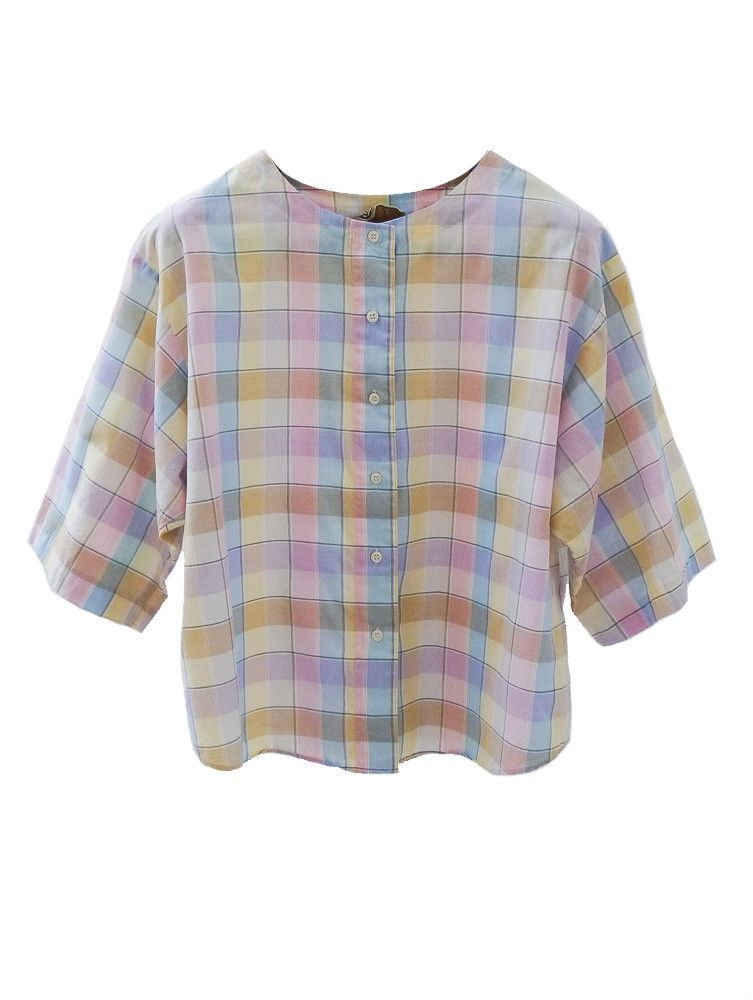 70s blouse checked