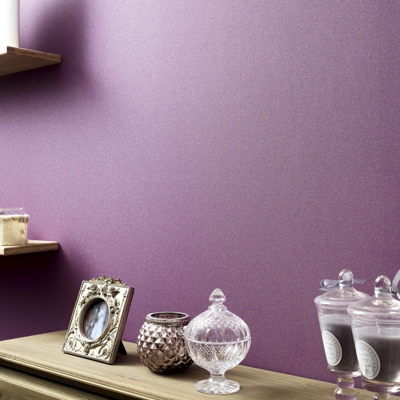 Papier peint expansé sur intissé Uni paillette, violet, larg. 0.53 m ...