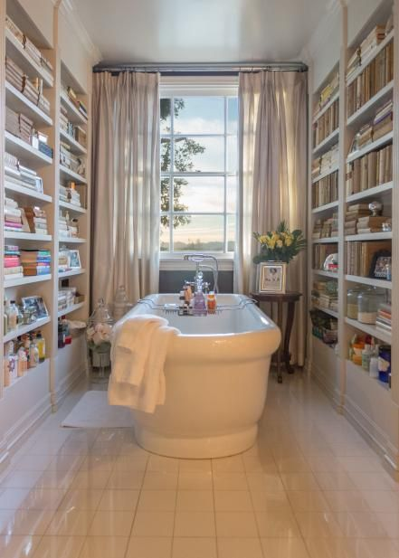 The A-List celebrity who had these bathroom bookcases designed exclusively for her Hollywood-area home loves reading so much she wants books within reach at all times. Something tells us, however, that her invaluable first editions are stored elsewhere, as a steamy tub could ruin pages, spines and glue. But who reads priceless books in the bathtub anyway? The reading material here is purely for pleasure and relaxation.