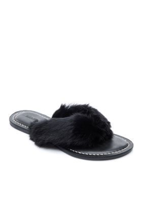 2d5815a140c919 Bernardo Women s Miami Sandal - Black - 6.5M Rabbit Fur