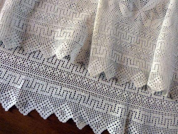 BIG handmade linen crochet lace edging priest surplice alb clergy ...