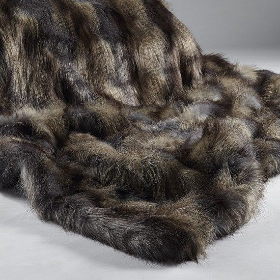 Bedding Direct UK Luxurious Long Haired Wolf Faux Fur Throw X (Blue Wolf)