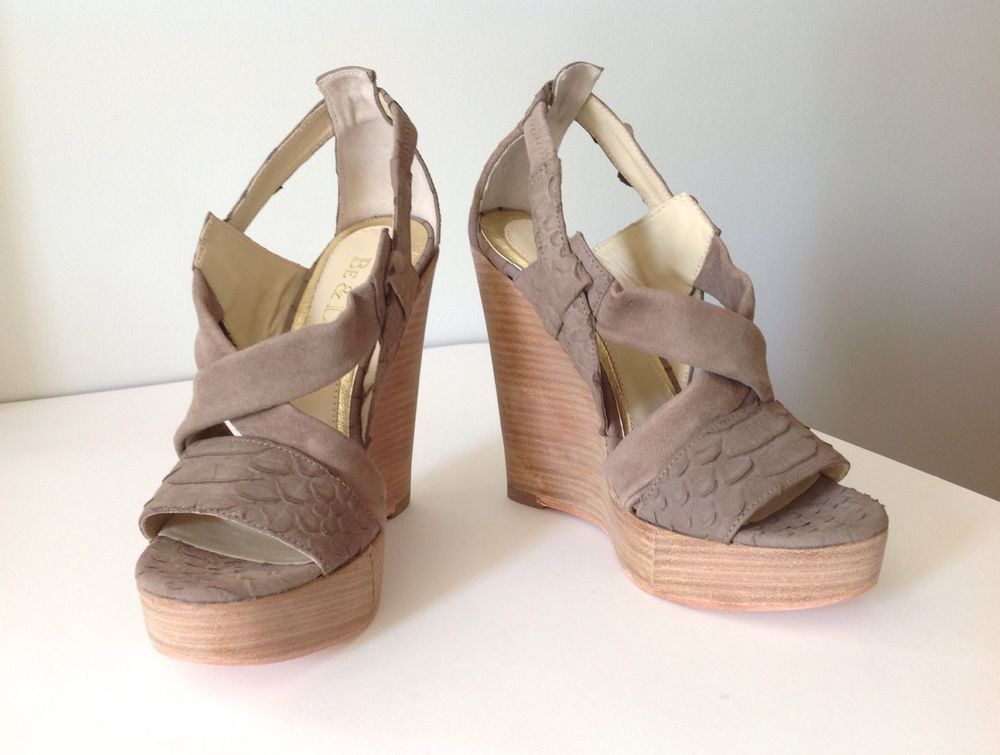 Be D Fisher Leather Summer Sandal Platform Wedges Anthropologie Sz 5 Taupe | eBay