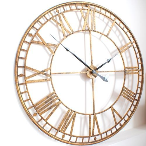 Large Giant Roman Gold Skeleton Vintage Antique Style Wall Clock 120cm Diameter Clock Wall Clock Antique Style