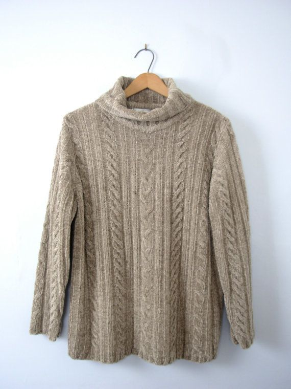 6a0a2c801 Vintage 90 s chenille taupe turtleneck sweater