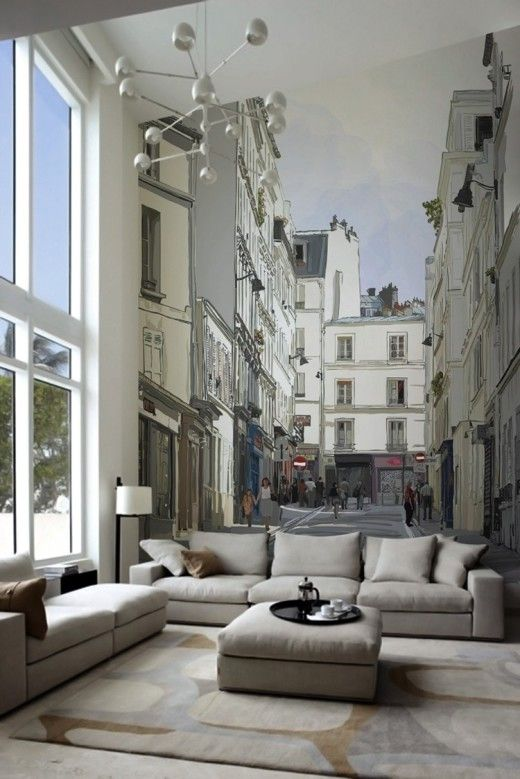 whole wall mural in living room shows view of old european city street interior