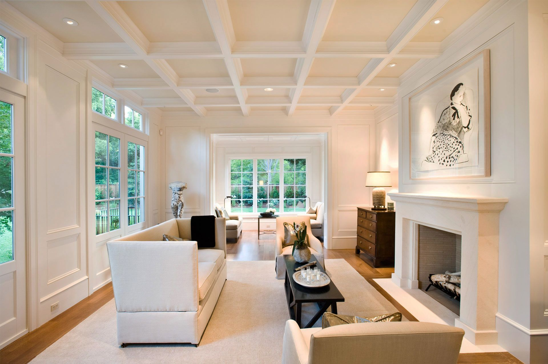 Like the coffered ceiling with lights, speakers