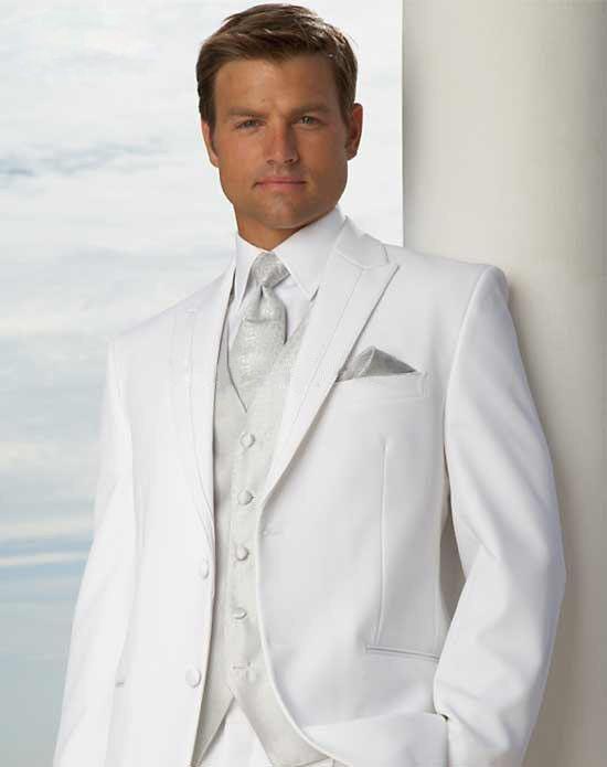2015 Custom Made Groom Tuxedo silver Suit peaked Lapel Best man ...