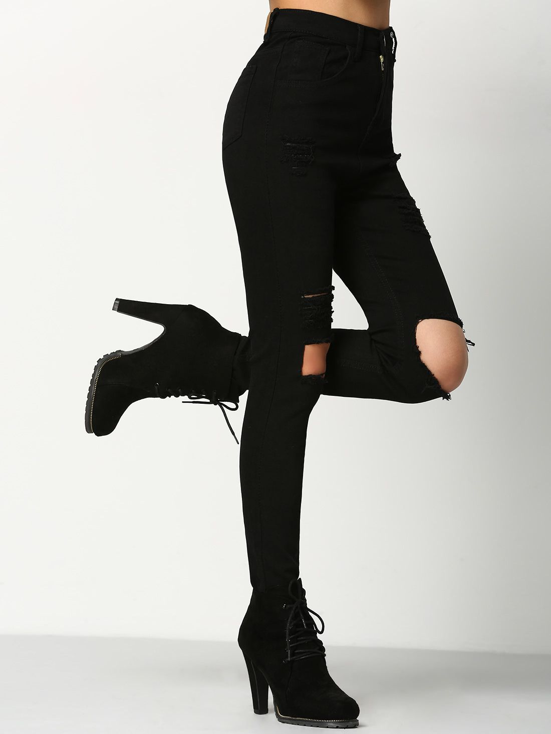 Romwe Black Ripped Jeans