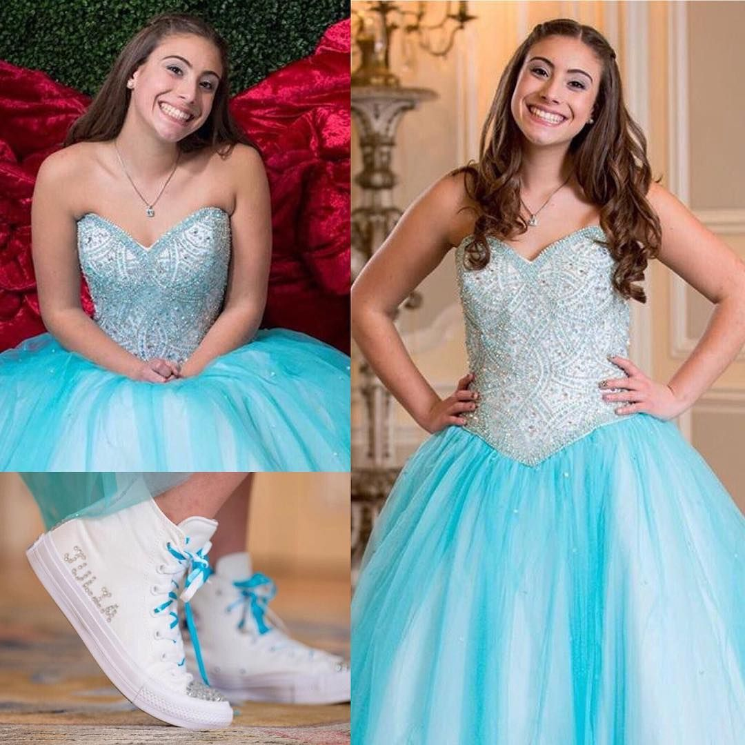 Gorgeous in this fully beaded gown with our custom converse for her ...