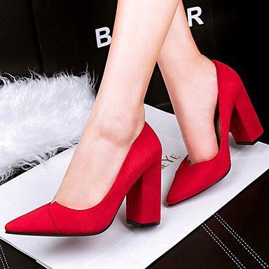 Shoes For Women Fleece Chunky Heel Heels Heels Casual Blue Pink Red Gray Beige