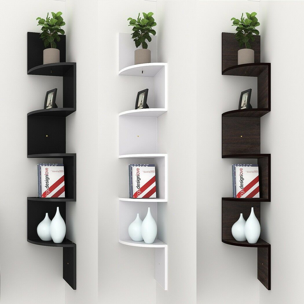 Details About 5 Tiers Wall Corner Wood Shelf Zig Zag Floating