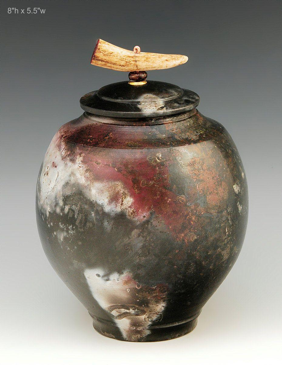 Pit fired raku covered jar, Ron Mello | Raku, Raku pottery ...