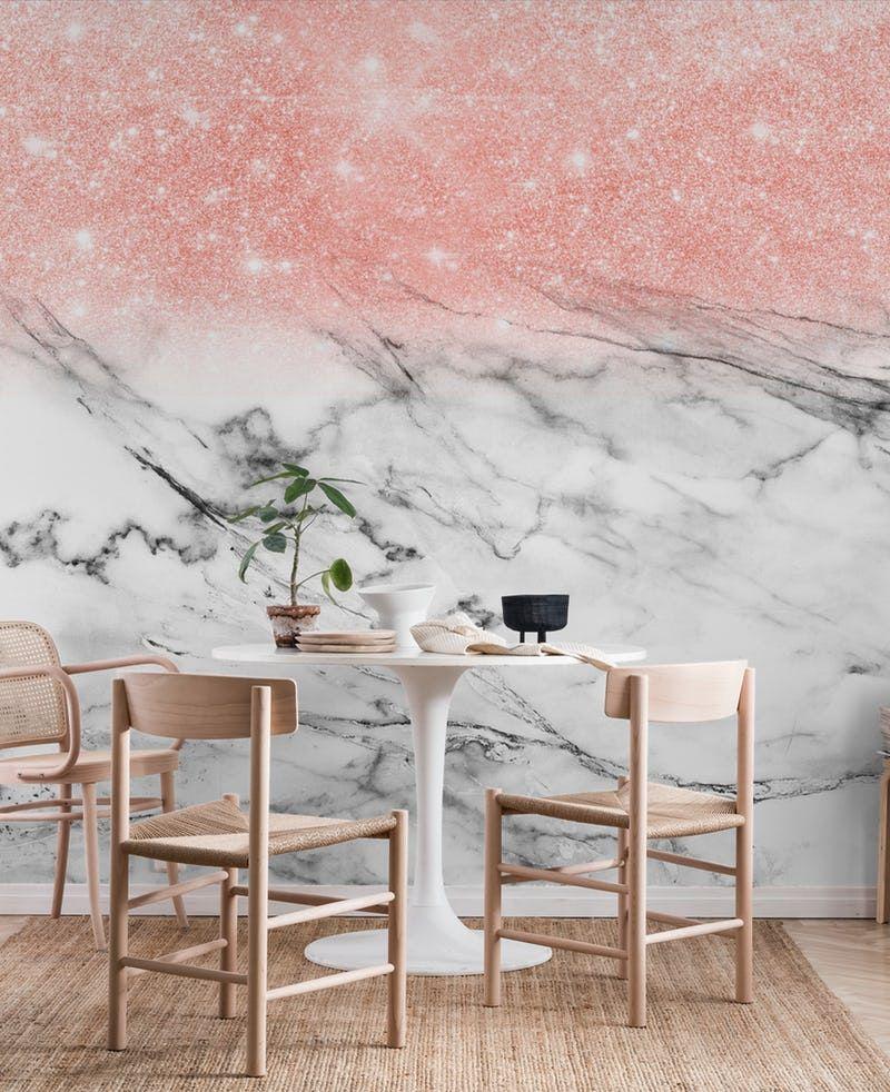 Rose Gold Glitter On Marble Wallpaper Glitter Wallpaper Bedroom Rose Gold Glitter Wallpaper Gold Curtains Living Room