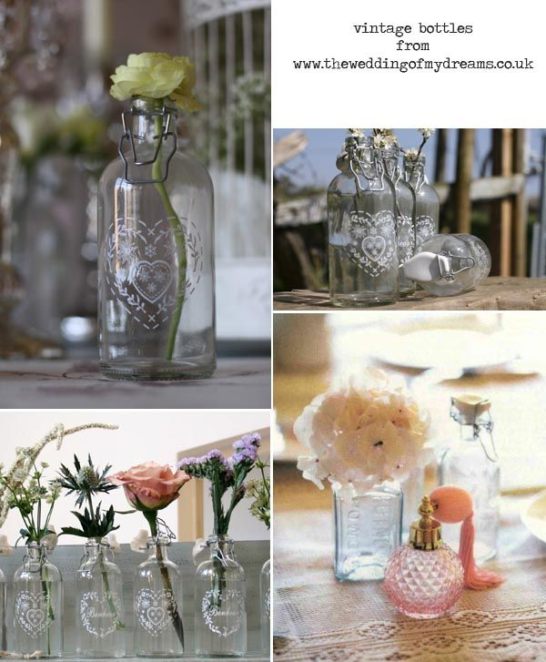 Glass Bottles For Wedding Decorations Vintage Engagement Party Ideas  Vintage Single Stem Bottles