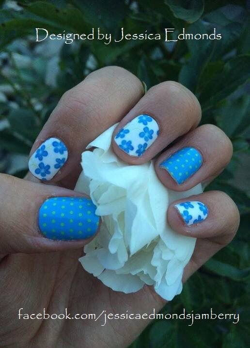 Here is my Blue Flowers and Dots on my hands. I love the way these look and this was my fastest application yet. Got them all on in 16 min (not that I was timing just happened to notice my start and end time :)