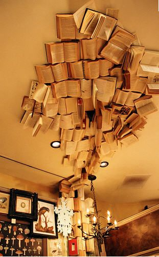 ceiling of books. #artinstallation