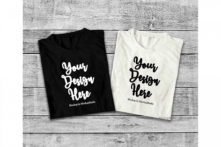 Download Two Black White Folded Tshirt Mock Up Double Top View Tee 197013 Clothing Design Bundles Mockup Free Psd Free Packaging Mockup Shirt Mockup