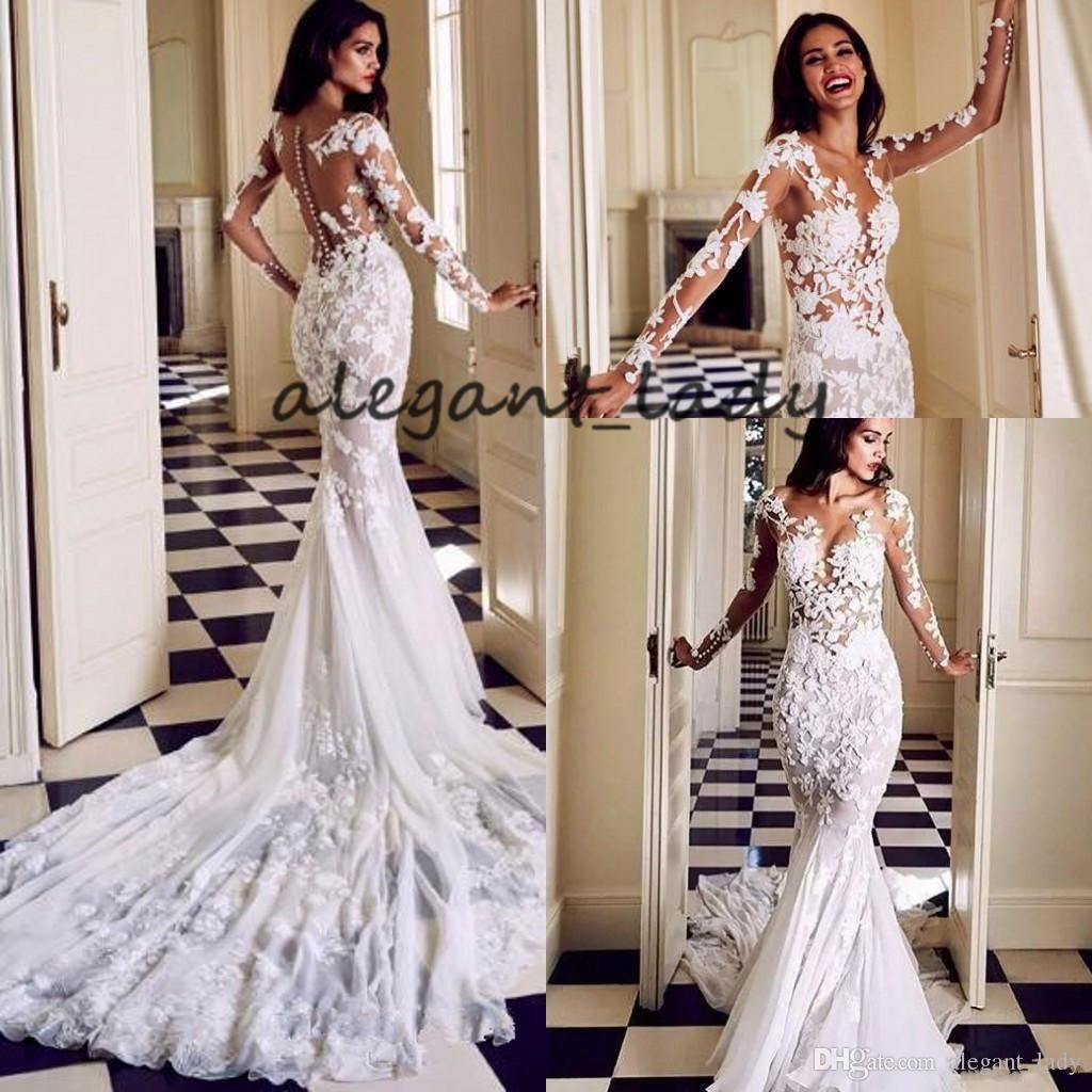 Sheer Jewel Neck Mermaid Wedding Dresses With Long Sleeve 2019 Lace 3d Floral Sweep Train Castle Garden Trmpet Bridal Wedding Gown From Alegant Lady 158 50 Bridal Gowns Mermaid Online Wedding Dress Wedding Dresses [ 1024 x 1024 Pixel ]