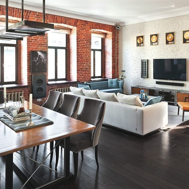 Cool Loft Living Room Love The Red Brick Wall And Black Floor Combination Interior Furniture Livingroom