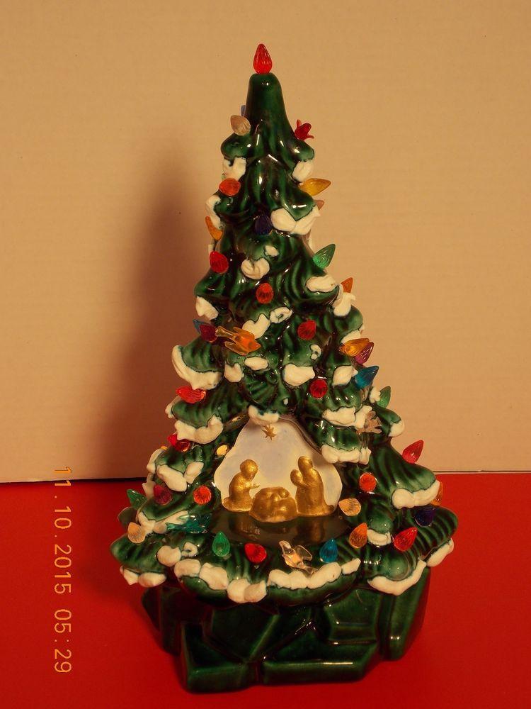 Vintage Ceramic Christmas Tree With Manger Scene Nativity Lighted