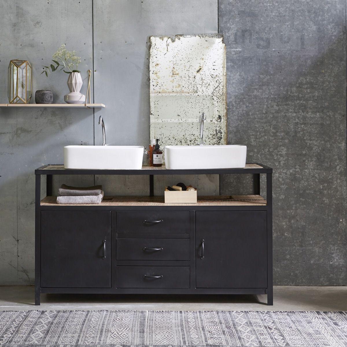 meuble salle de bain en m tal et manguier 140 industriel. Black Bedroom Furniture Sets. Home Design Ideas