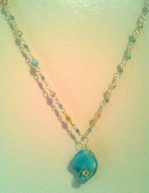 Wire wrap bead necklace