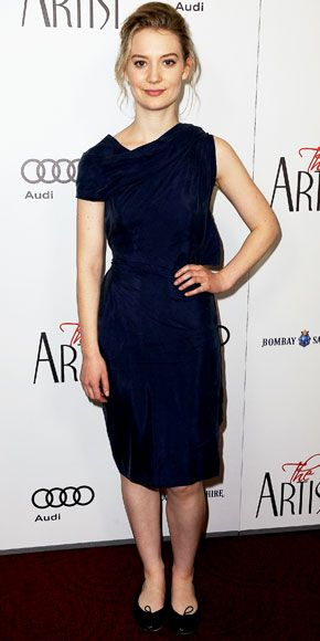 Mia Wasikowska in London Henrietta Black Leather Quilt Ballet Flats ♥