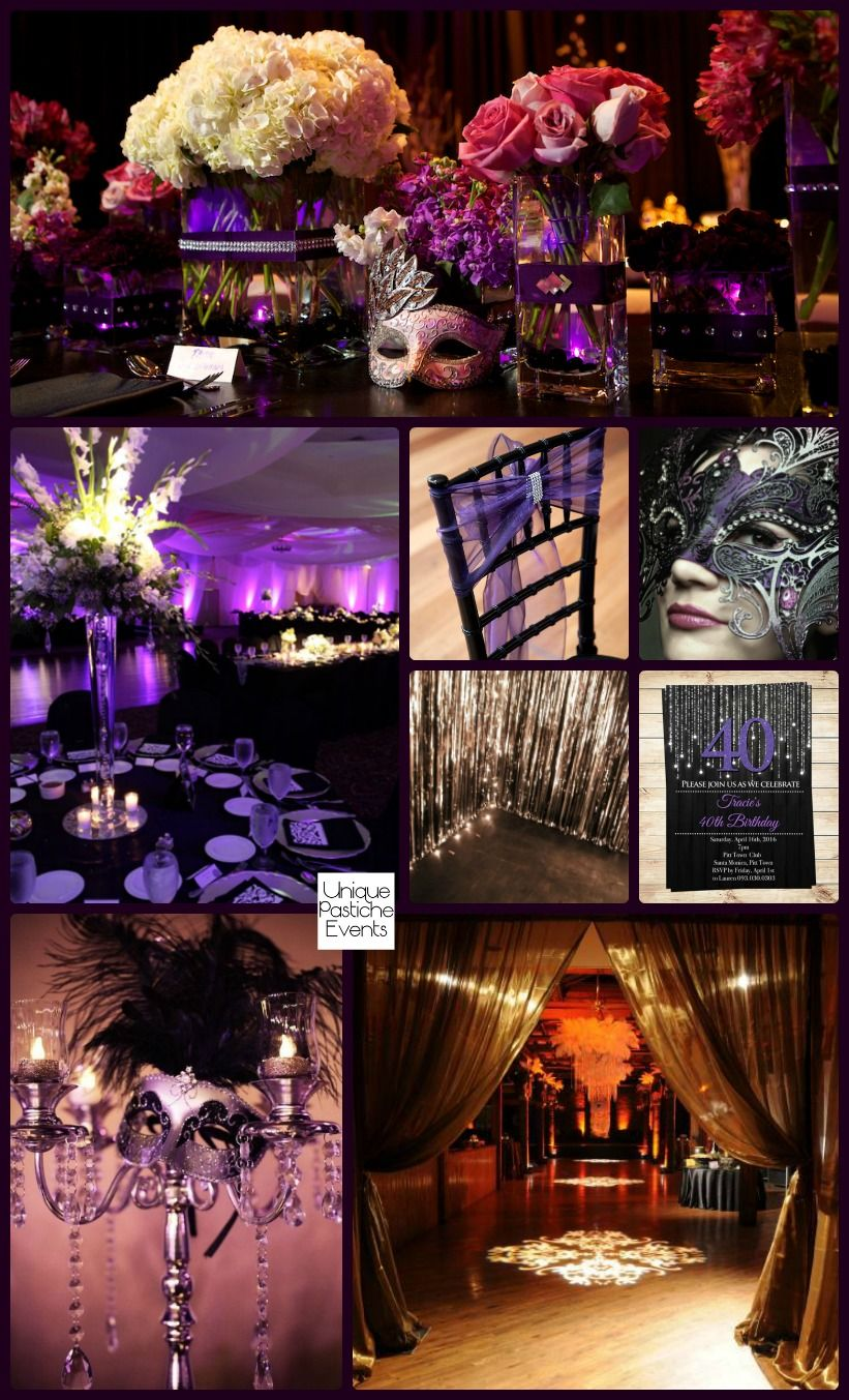Masquerade Ball Party Decorations Moonlight Masquerade Ball In Black Purple And Silver