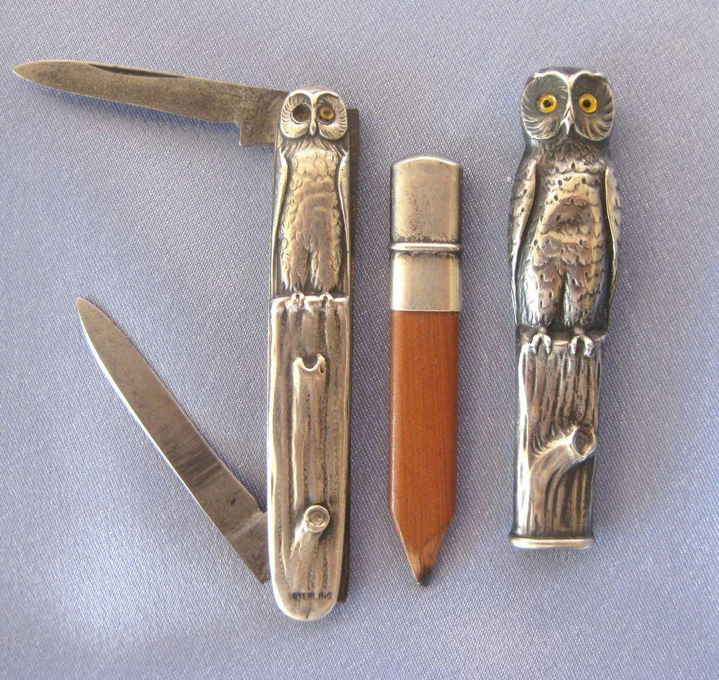Sterling Arts Amp Crafts Owl Pencil Amp Pocket Knife Set