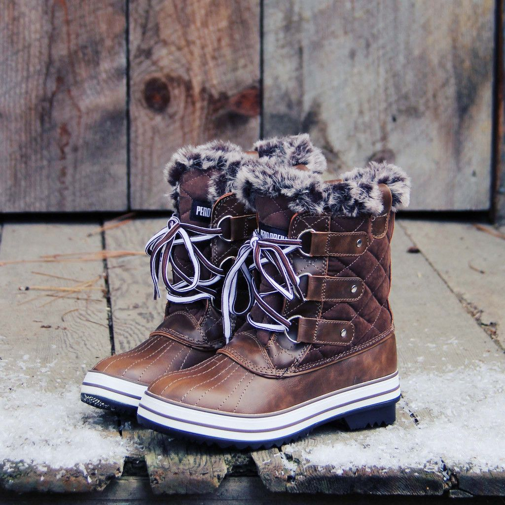 The Snowy Pines Snow Boots in Brown, Rugged Fall & Winter Boots ...