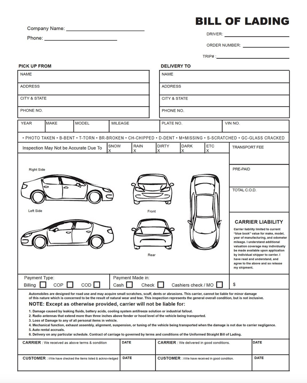 Auto Transport Bill Of Lading Print Quality Vehicle Condition Intended For Truck Condition Report Template 10 Profe Report Template Bill Of Lading Templates