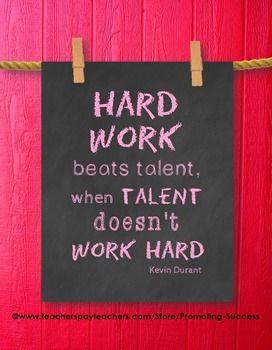 Hard Work Beats Talent Quote Poster Classroom Decor Chalkb