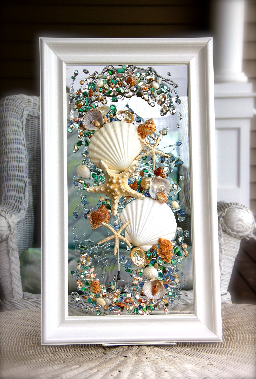 Sea Glass Art For Beach Decor Seashell Wall Art For Nautical Etsy Seashell Wall Art Seashell Wall Decor Beach Bathroom Decor