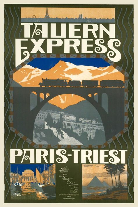 Tauern Express, 1911. Artist: Otto Barth (coll. Albertina, Wenen). Beginning 1911, a direct train from Paris via Munich, crossed the Tauernbahn to Trieste, where passengers could connect with cruise ships to Egypt.