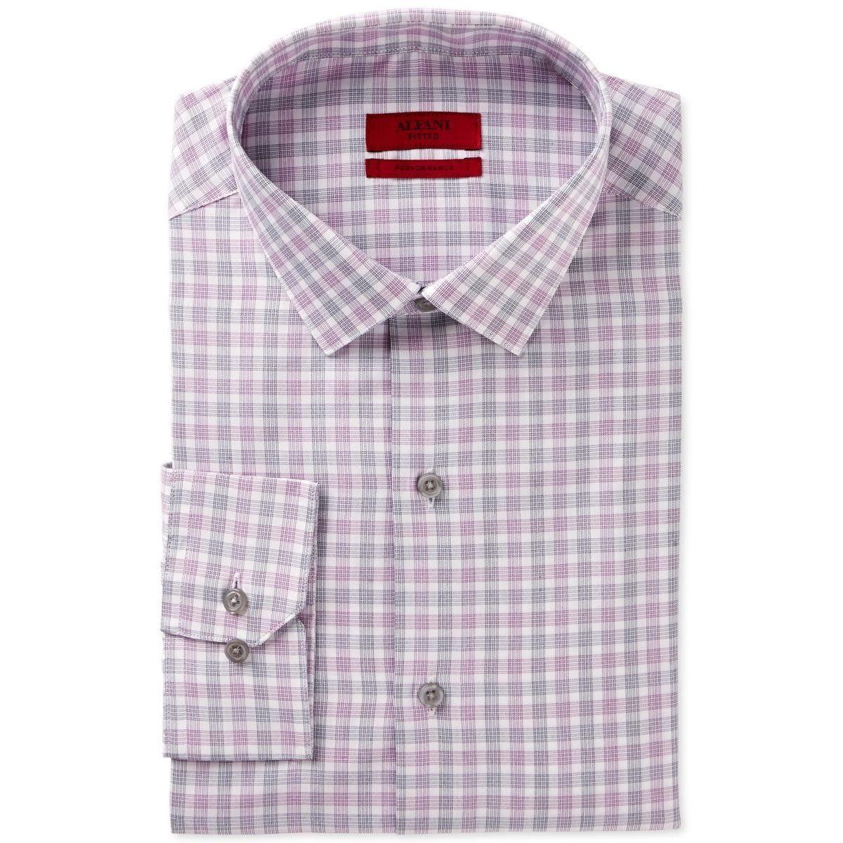 Alfani Mens Performance Checkered Dress Shirt