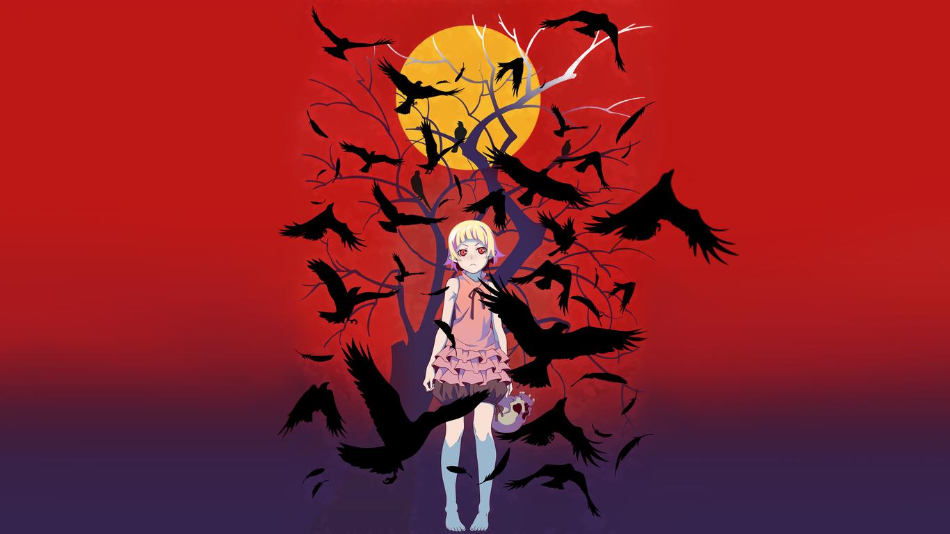 Kizumonogatari Poster Background 1366x768 Hd Wallpaper From