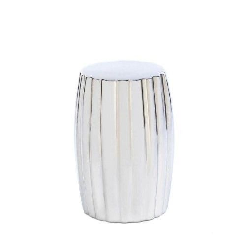 Dramatic Silver Ceramic Stool Or Side Table As Shown