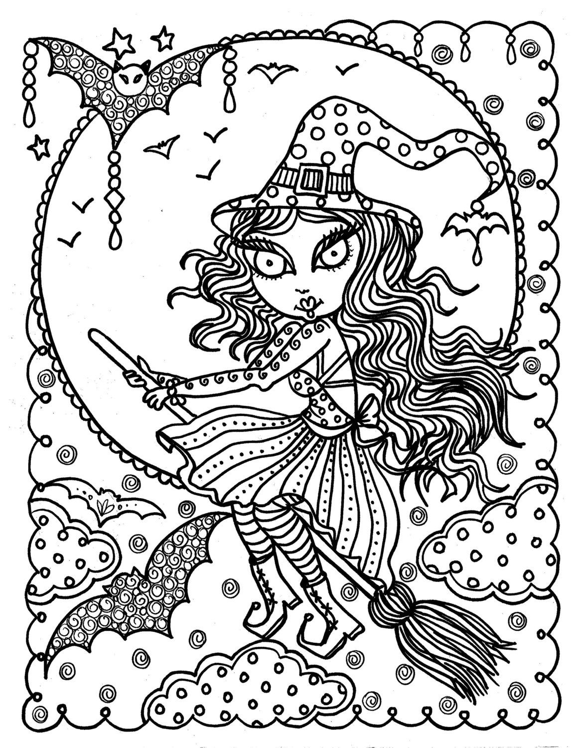 Cute Witch Halloween Coloring Page Fun Instant Download Immediately Color Away By ChubbyMermaid On Etsy