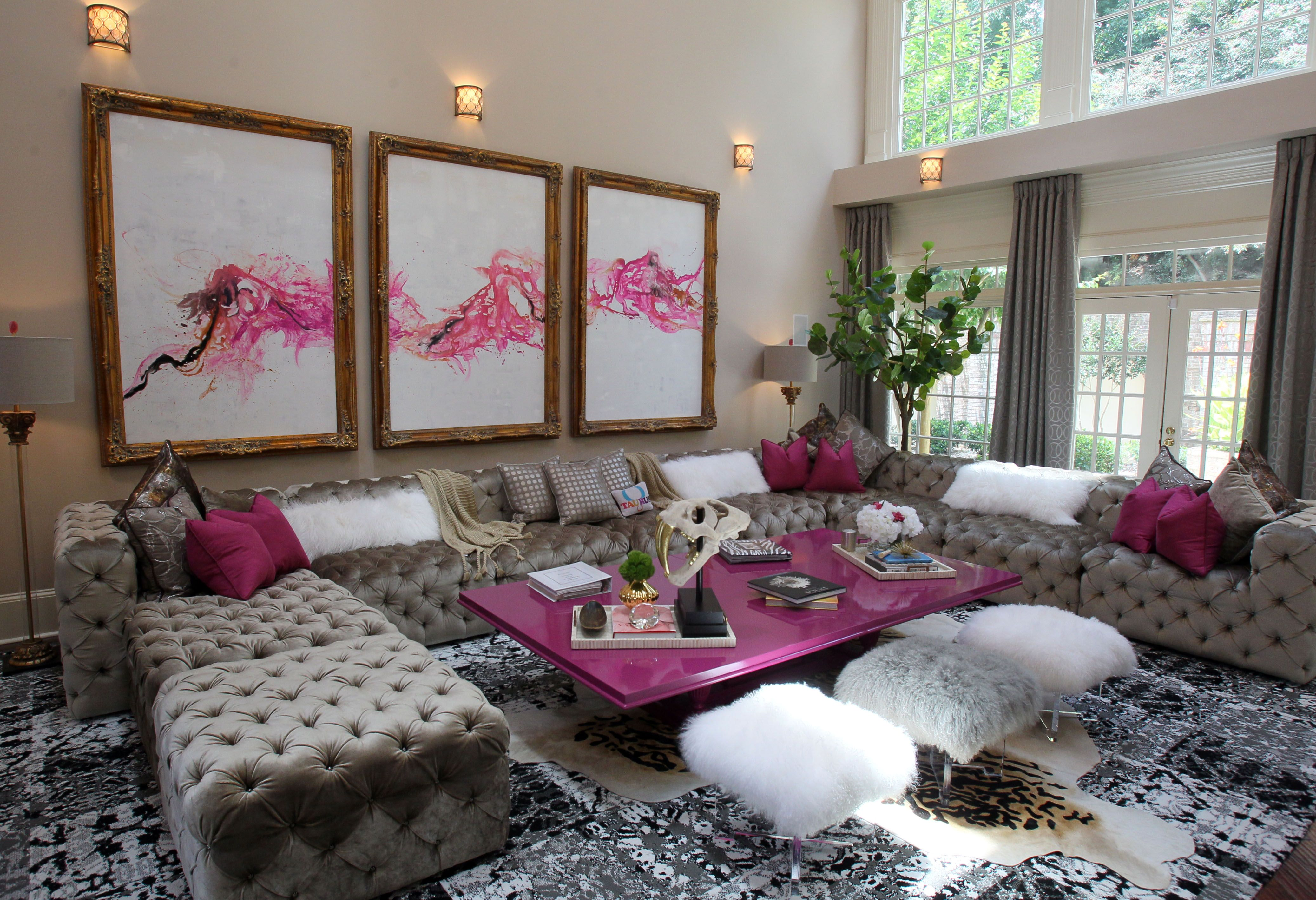 Home Furniture Living Room Furniture Atlanta photos our first celebrity private quarters gallery featuring kandi burruss living room love the pink accents