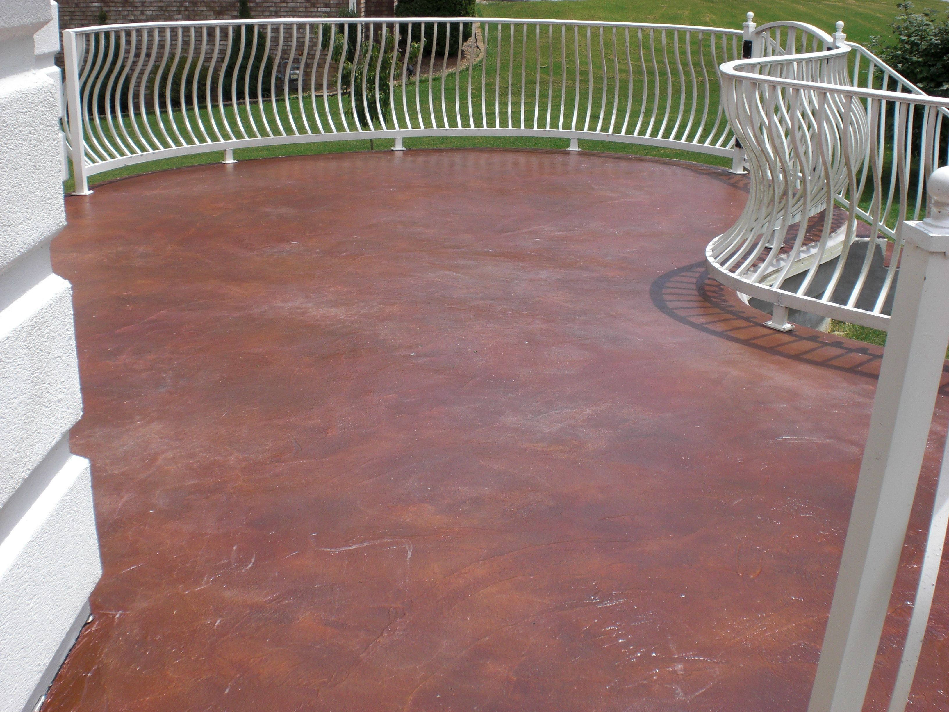 Patio With Semi Transparent Concrete Stain. Color Chicory