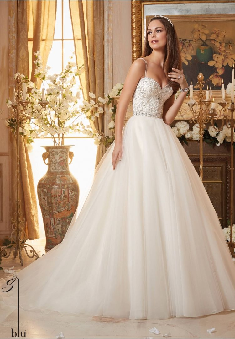 Gold white wedding dress  Wedding Gowns By Blu featuring Crystal Beaded Embroidery on Circular