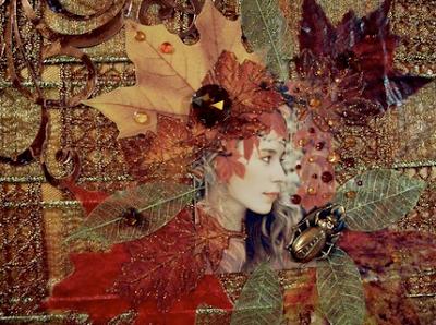 Mixed Media Collage Art   Autumn Dryad Collage by Maureen Tillman