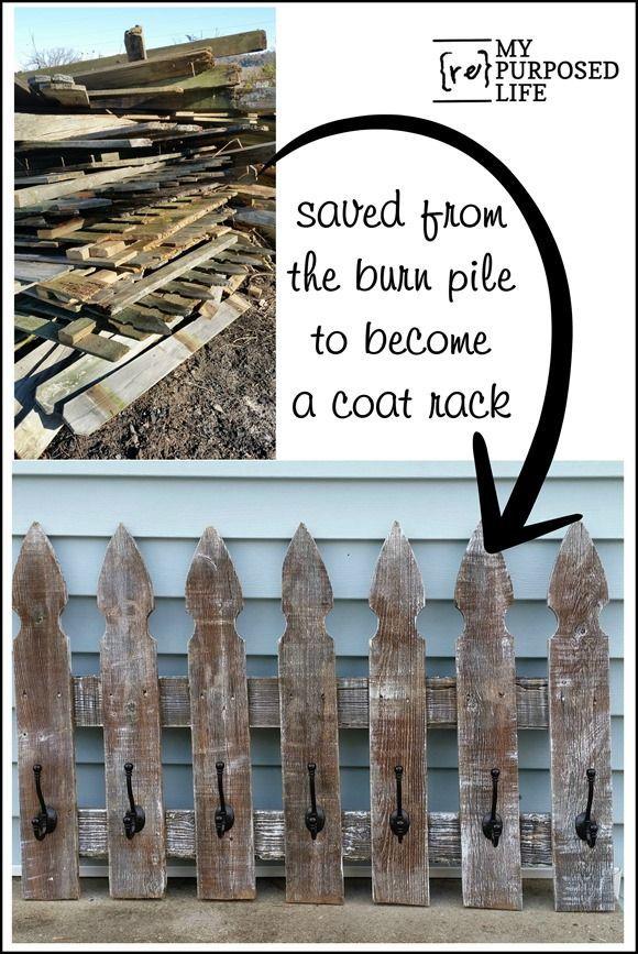 Picket Fence Whitewash Coat Rack Custom Picket Fence Coat Rack