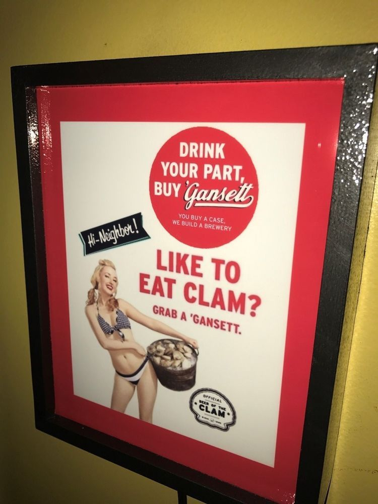 Man Cave Lighted Beer Signs : Narrangansett beer clams pinup girl bar advertising man